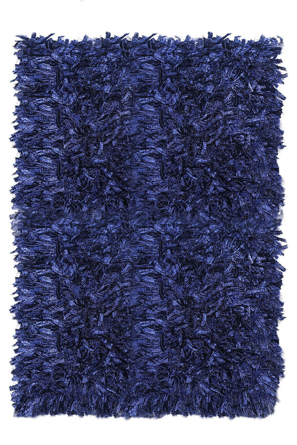 Contemporary Style Area Rug In Polyester With cotton Backing, Blue - BM181120