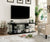 "60"" Wooden TV Stand With Spacious Glass Shelf, Black And Clear - BM181321"