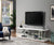 "60"" Wooden TV Stand With Spacious Glass Shelf, White And Clear"