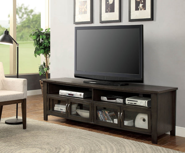 "72"" Wooden TV Stand With 2 Cabinets and 2 Open Shelves In Brown"