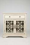 Craftsman Series 32 Inch Wooden Accent Cabinet with Fretwork Glass Front, Cream - BM181497