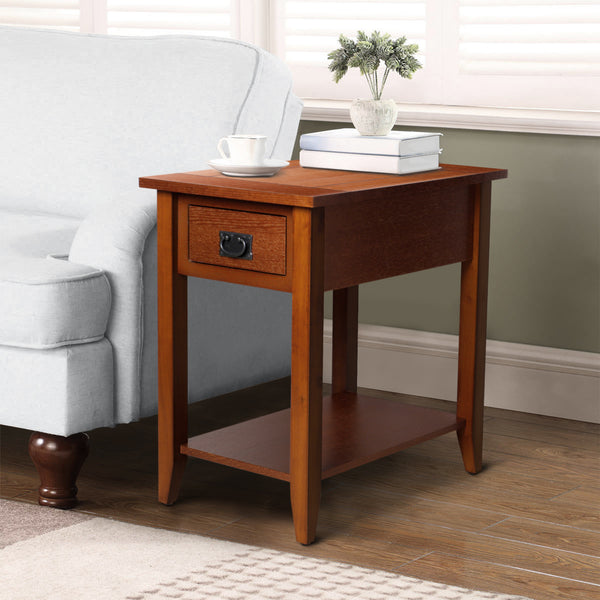 Transitional Wooden Chair Side End Table with Drawer and Open Shelf, Brown -BM181592
