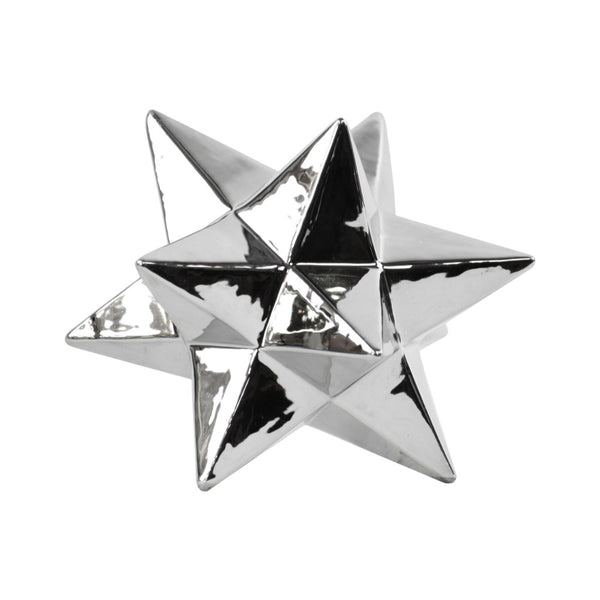 12 Point Stellated Sculpture In Ceramic, Large, Silver - BM182012