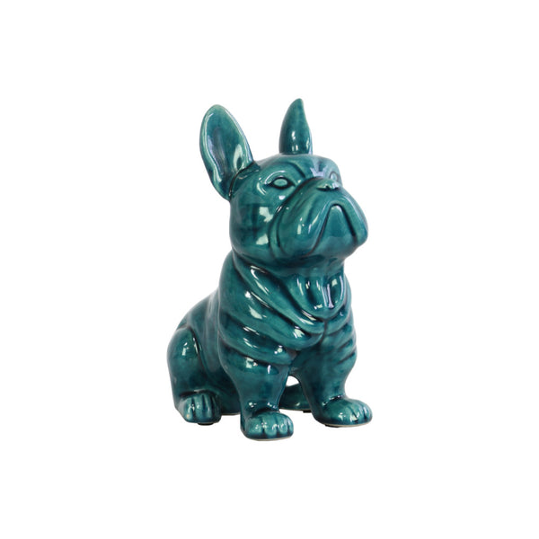 French Bulldog Figurine In Ceramic With Pricked Ears, Turquoise Blue - BM182034