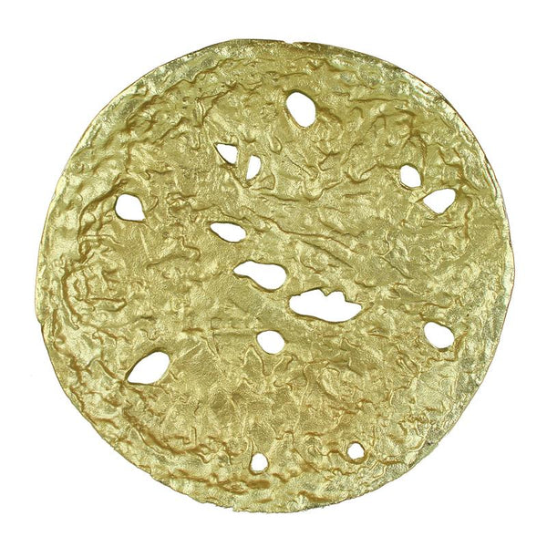 Decorative Round Shaped Aluminum Tray With Rough Edges, Pack Of Two, Gold
