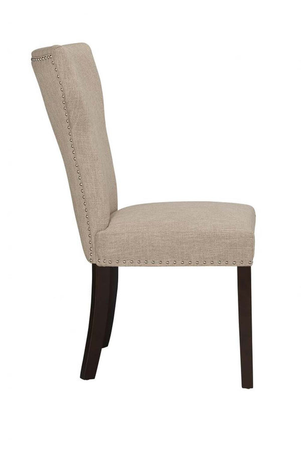 Fabric Upholstered Side Chair with Wingback Design, Set of 2, Oatmeal Brown - BM183454