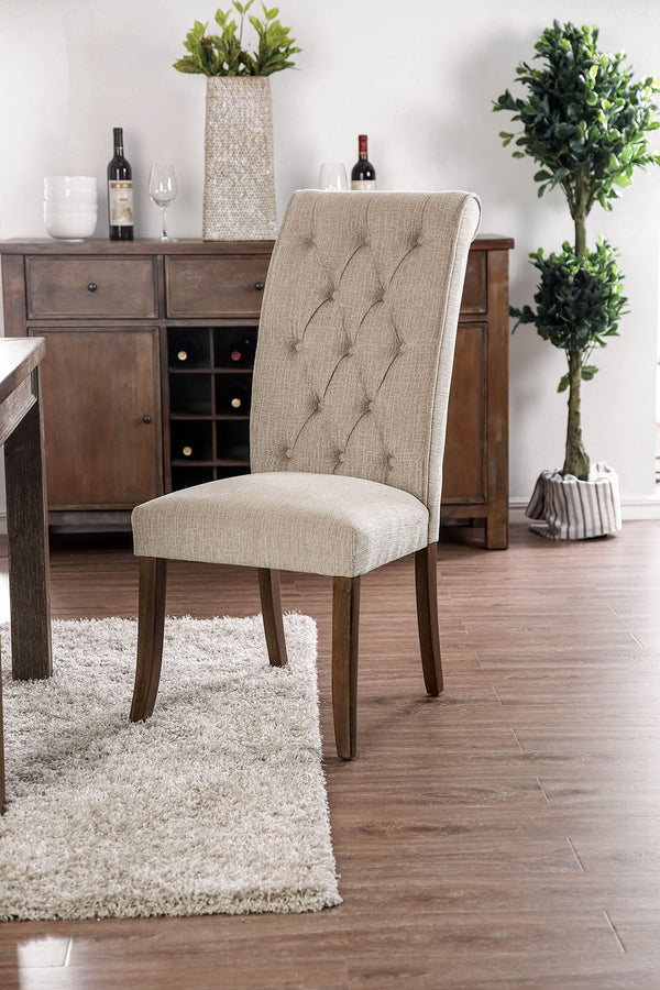Wooden Fabric Upholstered Side Chair, Ivory And Brown, Pack Of Two