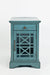 Wooden Chairside Table With Hidden Power Charger, Antique Blue - BM183987