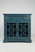 Craftsman Series 32 Inch Wooden Accent Cabinet with Fretwork Glass Front, Blue - BM183988