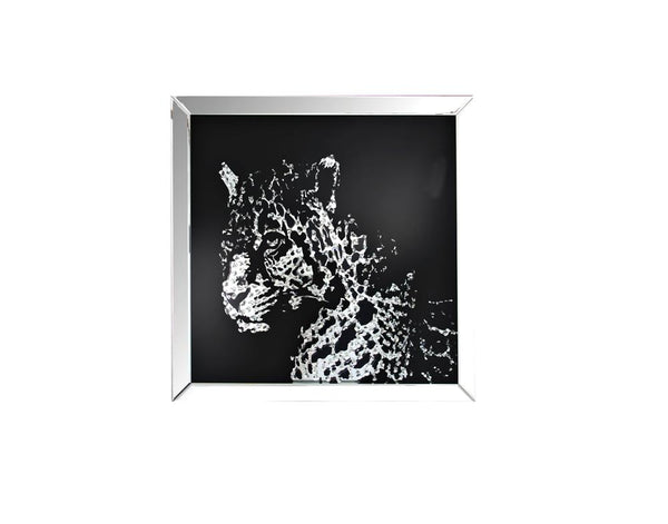 Square Mirror Framed Leopard Wall Decor With Crystal Inlays, Black & Silver - BM184757