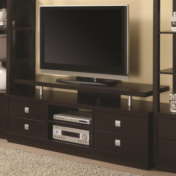 Minimal Style Wooden TV Console With Multi Storage, Cappuccino Brown  - BM184878