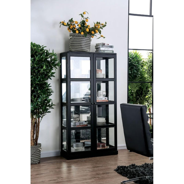 Transitional Wooden Curio Cabinet with Two Glass Doors and Four Shelves, Black