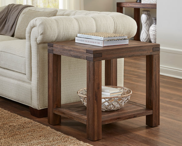 BM187653 - Acacia Wood End Table with Exposed Mortise and Tenon Corner Joints, Brown