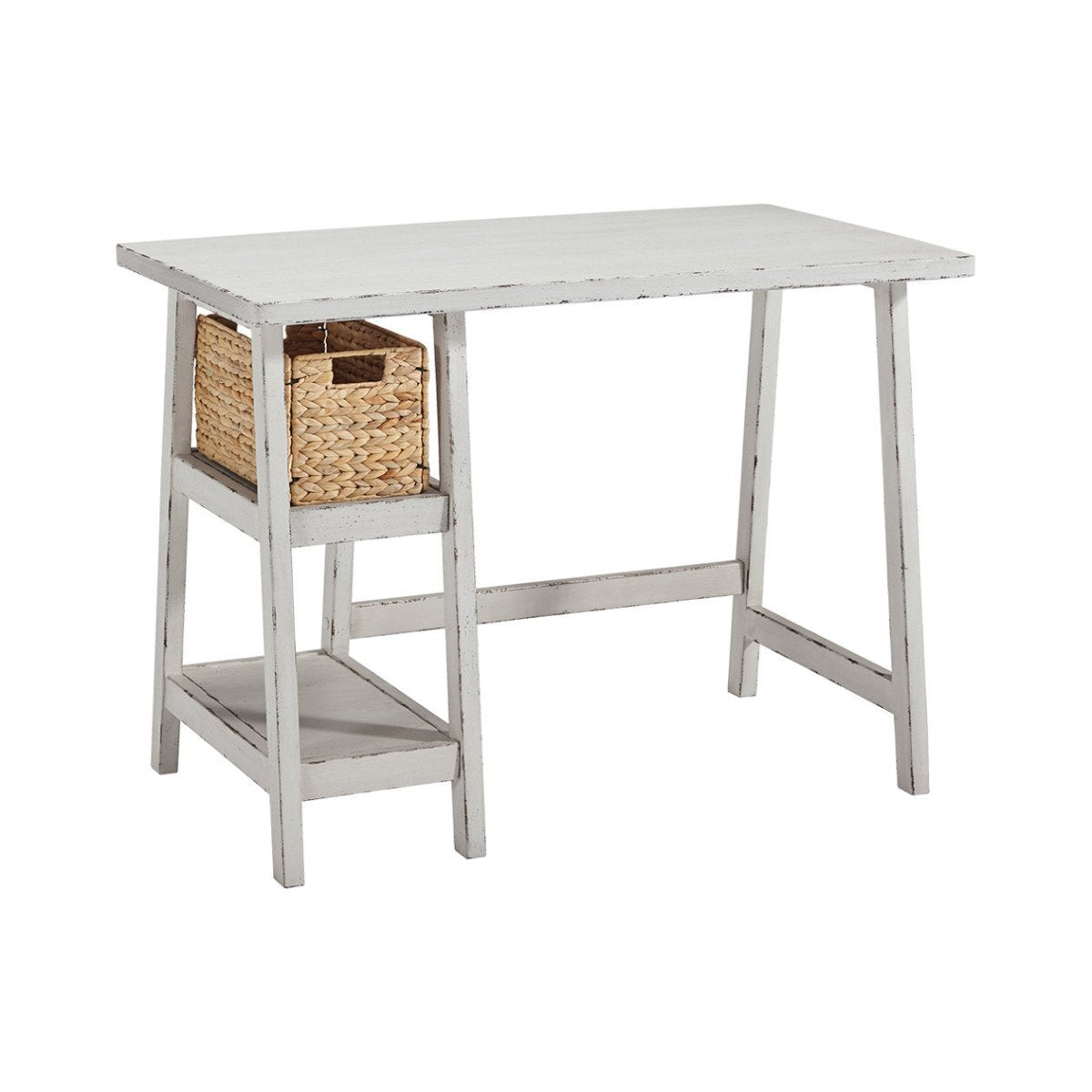 Benjara Bm190073 Distressed Wooden Desk With Two Display Shelves And Trestle Base Small White Benzara Com