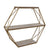 BM190496 - Metal and Wood Three Tier Hexagon Wall Shelf, White and Gold