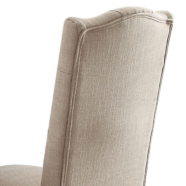 Linen Upholstered Wooden Side Chair with Button Tufting Backrest, Beige and Brown, Set of Two - BM191390