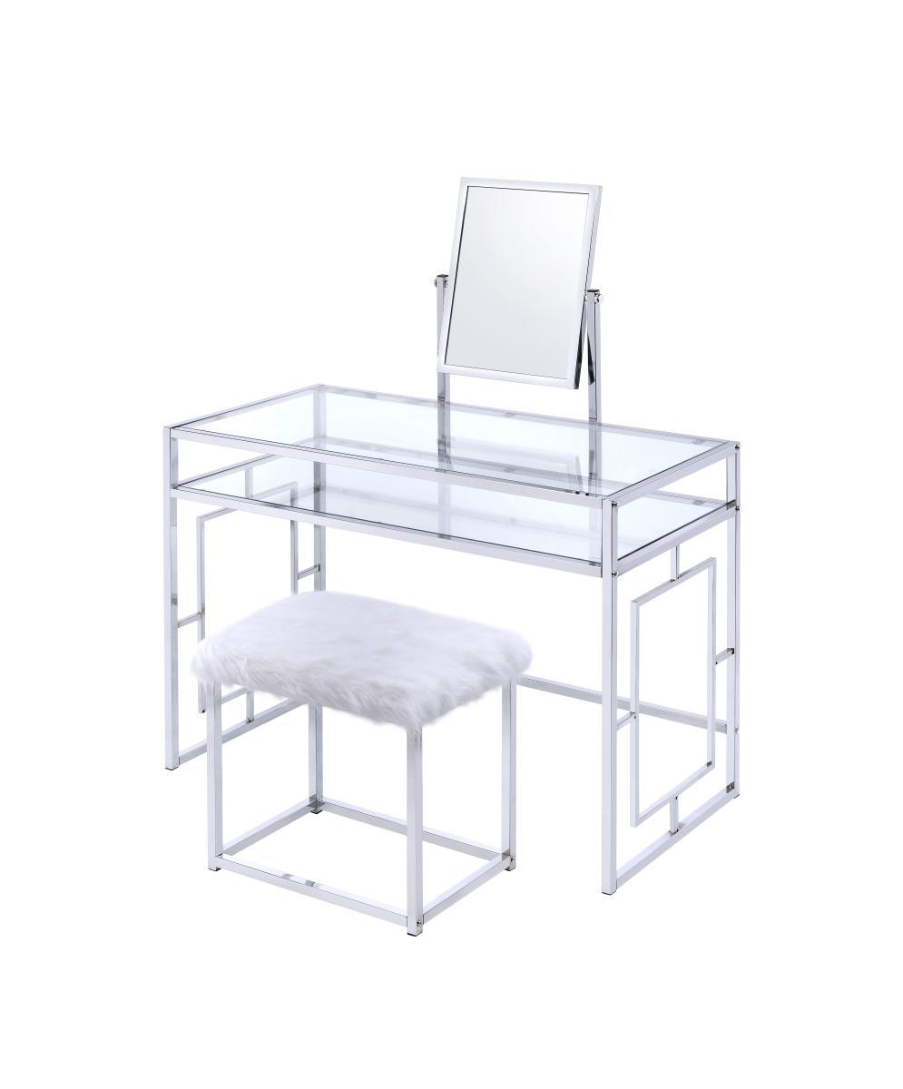 Image of: Benjara Glass And Metal Vanity Set With Faux Fur Stool White And Silver Bm191403 Benzara Com
