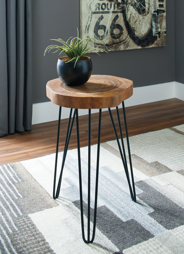 BM193776 - Wooden Top Accent Table with Metal Angular Feet, Brown and Black