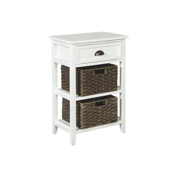 BM193779 - Cottage Style Wooden Accent Table with Two Woven Storage Baskets, White and Brown