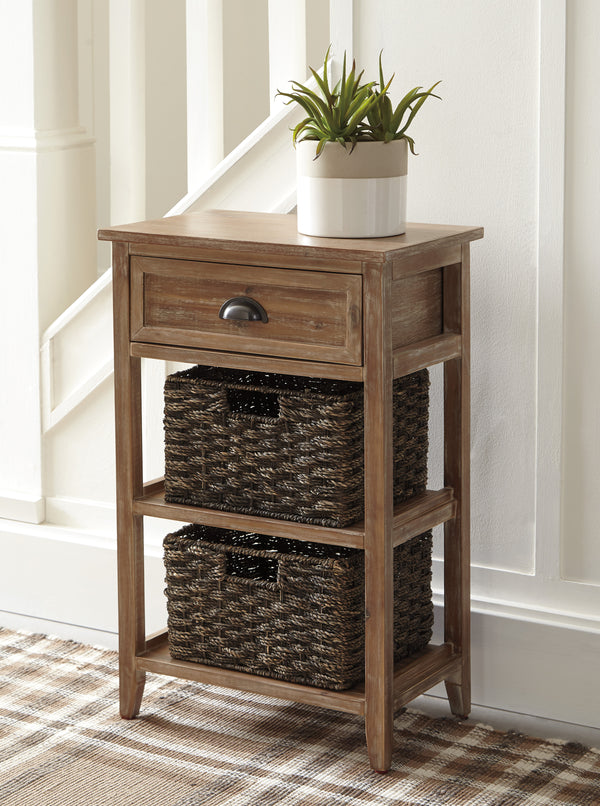 BM193781 - Cottage Style Wooden Accent Table with Two Woven Storage Baskets, Brown