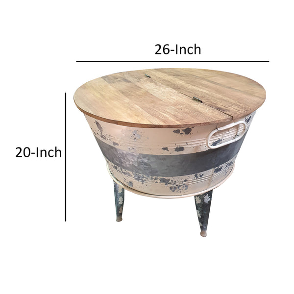 Distressed Metal Framed Cocktail Table with Hinged Lift Top Storage, Brown and Gray - BM193783
