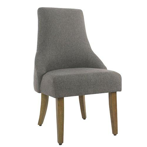 BM193935 - Fabric Upholstered High Back Dining Chair with Wooden Legs, Gray and Brown