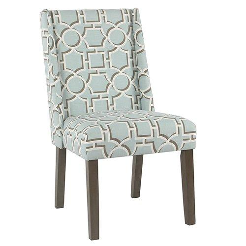 BM193941 - Wooden Parson Dining Chairs with Trellis Patterned Fabric Upholstered Seating, Blue, Set of Two