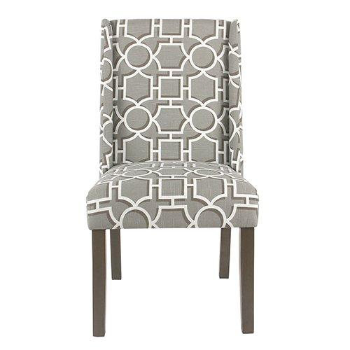 BM193942 - Wooden Parson Dining Chairs with Trellis Patterned Fabric Upholstered Seating, Gray, Set of Two