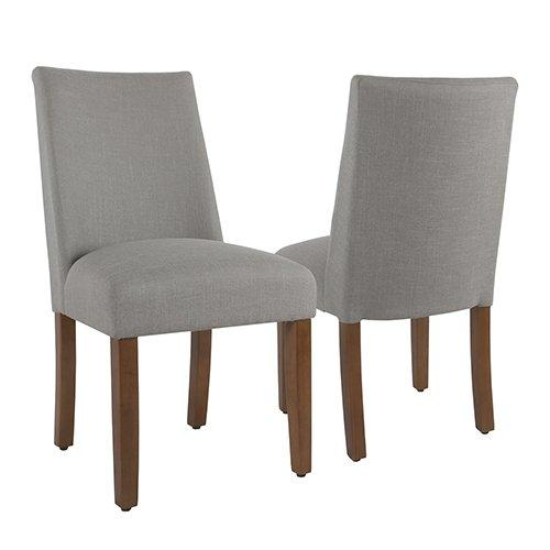 BM193948 - Fabric Upholstered Wooden Parson Dining Chairs with Curved Back Design, Gray, Set of Two
