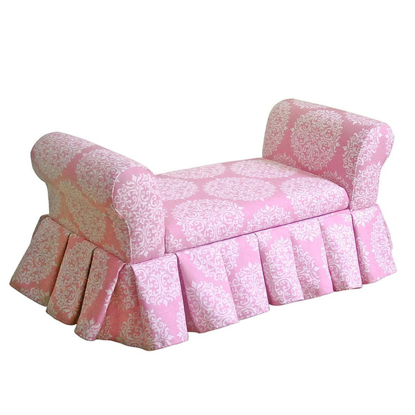 BM193951 - Fabric Upholstered Wooden Skirted Storage Bench with Removable Cushioned Seats, White and Pink