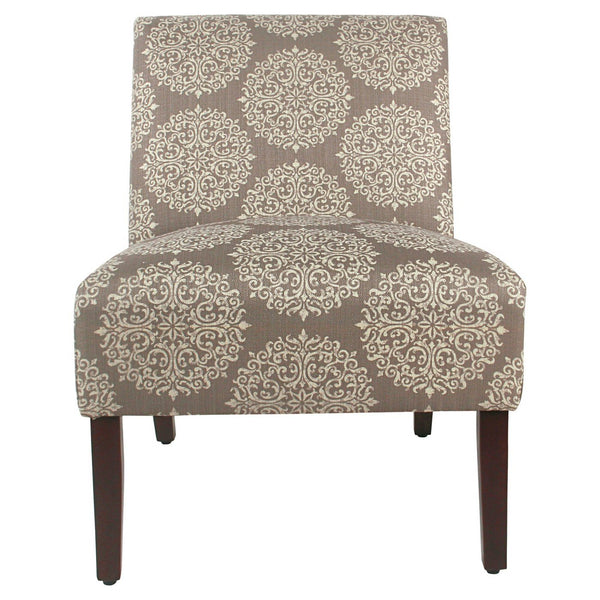 BM193970 - Medallion Printed Fabric Upholstered Wooden Accent Chair with Blocked Legs, Brown and Cream