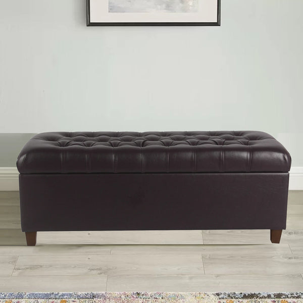 Leatherette Upholstered Wooden Bench with Button Tufted Lift Top Storage, Brown - BM194091