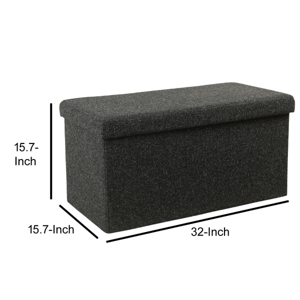 BM194094 - Fabric Upholstered Metal Collapsible Bench with Lift Off Lid Storage, Dark Gray