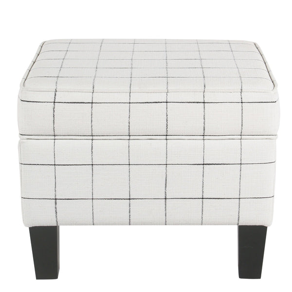BM194117 - Wooden Ottoman with Grid Patterned Fabric Upholstery and Hidden Storage, White and Black