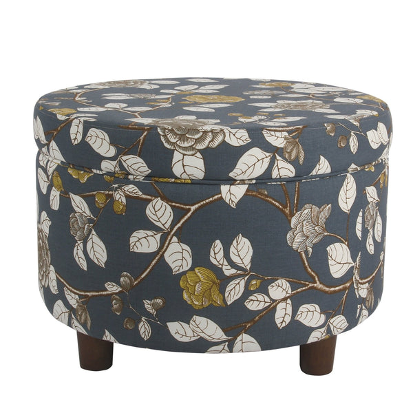 BM194120 - Wooden Ottoman with Floral Patterned Fabric Upholstery and Hidden Storage, Multicolor