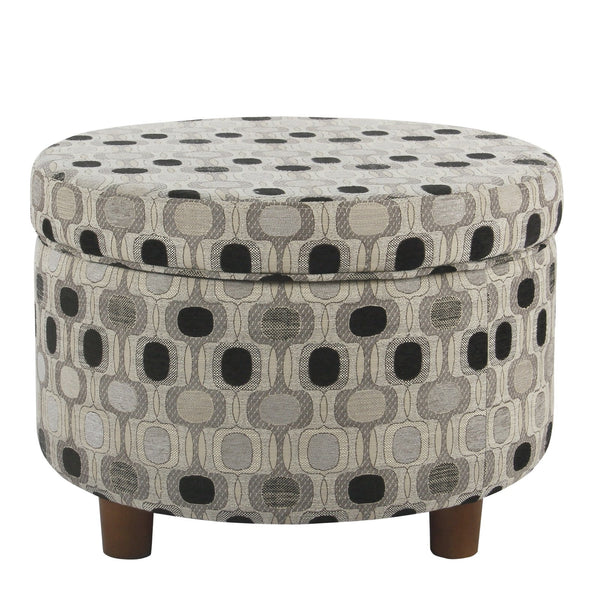 BM194121 - Wooden Ottoman with Geometric Patterned Fabric Upholstery and Hidden Storage, Multicolor
