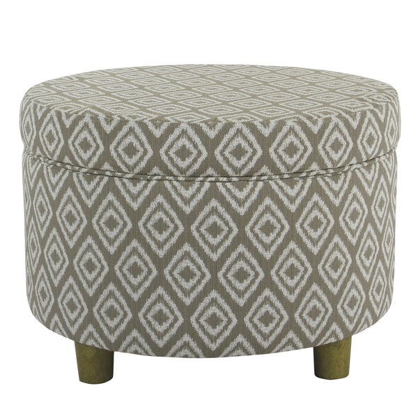 BM194122 - Geometric Patterned Wooden Ottoman with Lift Off Lid Storage, Brown and White