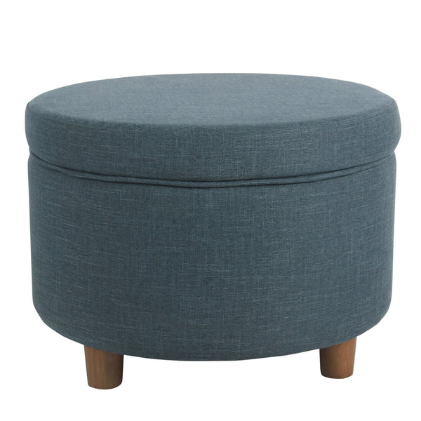 BM194123 - Fabric Upholstered Wooden Ottoman with Lift Off Lid Storage, Teal Blue