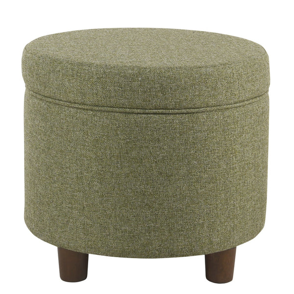 BM194125 - Fabric Upholstered Round Wooden Ottoman with Lift Off Lid Storage, Green