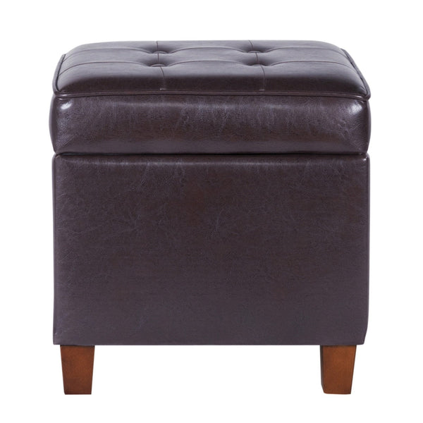 BM194129 - Square Shape Leatherette Upholstered Wooden Ottoman with Tufted Lift Off Lid Storage, Brown