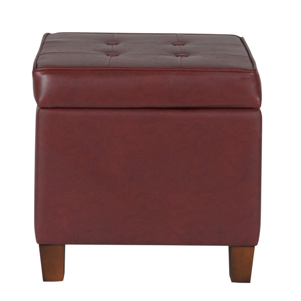 BM194130 - Square Shape Leatherette Upholstered Wooden Ottoman with Tufted Lift Off Lid Storage, Red