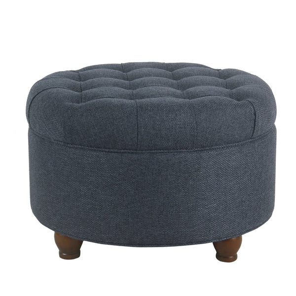 BM194138 - Fabric Upholstered Wooden Ottoman with Tufted Lift Off Lid Storage, Navy Blue