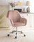 Adjustable Velvet Upholstered Swivel Office Chair with Slopped Armrests, Pink and Silver  - BM194303