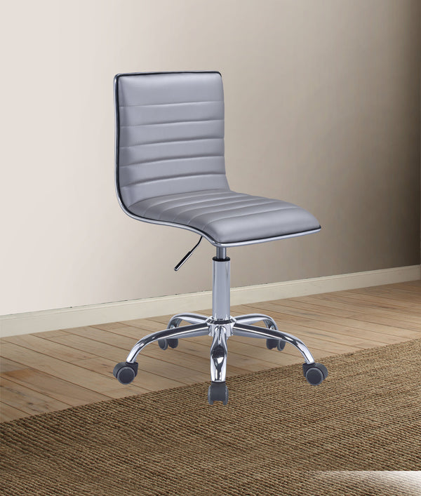 Armless Leatherette Swivel Office Chair with Adjustable Height and Metal Base, Silver  - BM194307
