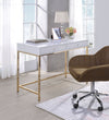 Two Drawers Wooden Desk with Tubular Metal Base, White and Gold  - BM194312