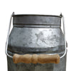 Galvanized Metal Decorative Milk Can with Wooden Handle, Gray and Brown - BM195132