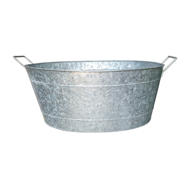 Embossed Design Oval Shape Galvanized Steel Tub with Side Handles, Small, Silver - BM195212
