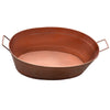 Oval Shape Hammered texture Metal Tub with 2 Side Handles, Copper - BM195214
