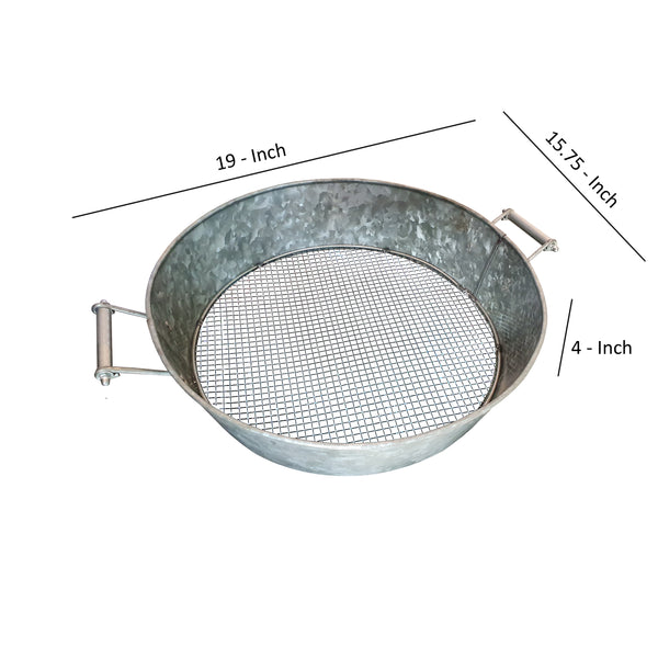 Round Galvanized Steel Compost Sifter with Wire Mesh Design Base, Antique Silver - BM195216