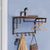 Wood and Metal Frame Coat Rack with 5 Removable Hooks, Brown and Black - BM195870
